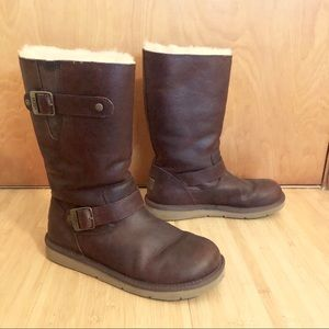 Ugg Kensington Toast Brown Biker Boots Sz 7 wool